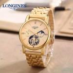 LONGINES-0101-10 商務男士土豪金多功能飛輪設計原裝全自動機械腕錶