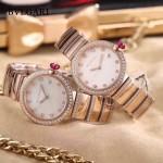 Bvlgari-98-6 最新女士LVCEA系列玫瑰金配白底藍寶石鏡面瑞士石英腕錶