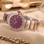 Bvlgari-98-10 最新女士LVCEA系列玫瑰金配紅底藍寶石鏡面瑞士石英腕錶