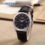 LONGINES-0102-4 全新復古閃亮銀配黑底三針設計原裝全自動機械腕錶