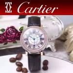 CARTIER-311-6 時尚百搭土豪金配黑色礦物質強化鏡面進口石英腕錶