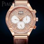 Piaget-027-3 新款男士POLO系列玫瑰金滿天星藍寶石鏡面瑞士9100機械腕錶