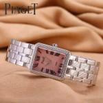Piaget-026-11 時尚女士鑽石系列閃亮銀配粉色珍珠貝母面進口石英腕錶