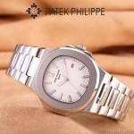 PATEK PHILIPPE-0149-6 時尚男士鸚鵡系列閃亮銀配白底礦物質玻璃進口石英腕錶