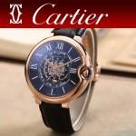 CARTIER-309-3 時尚男士藍氣球系列土豪金配黑底圓形鏤空全自動機械腕錶