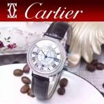 CARTIER-311-7 時尚百搭閃亮銀配黑色礦物質強化鏡面進口石英腕錶