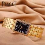 Piaget-026-2 時尚女士鑽石系列土豪金配黑色珍珠貝母面進口石英腕錶