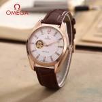 OMEGA-178-4 商務男士鏤空設計玫瑰金配白底316精鋼錶殼全自動機械腕錶