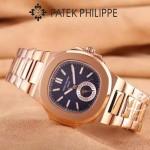 PATEK PHILIPPE-0149-11 時尚男士鸚鵡系列土豪金配藍底礦物質玻璃進口石英腕錶