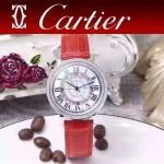 CARTIER-311-2 時尚百搭閃亮銀配紅色礦物質強化鏡面進口石英腕錶