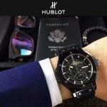 HUBLOT-040-4 潮流休閒男士黑色硅膠錶帶款進口石英腕錶