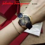 Ferragamo-004-3 高貴奢華Signature黑色玫瑰花瓣蛇皮錶帶原裝瑞士石英腕錶