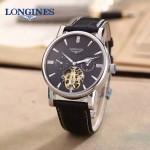 LONGINES-0101-12 商務男士閃亮銀多功能飛輪設計原裝全自動機械腕錶