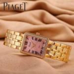 Piaget-026-6 時尚女士鑽石系列玫瑰金配粉色珍珠貝母面進口石英腕錶