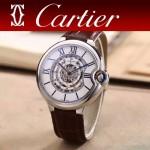 CARTIER-309-6 時尚男士藍氣球系列閃亮銀配白底圓形鏤空全自動機械腕錶