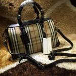 Burberry-0210 時尚經典款原版牛皮配紡織棉麻布女士手提單肩包