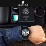 HUBLOT-040-2 潮流休閒男士藍色牛仔布設計錶帶款進口石英腕錶