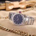 Bvlgari-98-3 最新女士LVCEA系列閃亮銀配藍底藍寶石鏡面瑞士石英腕錶
