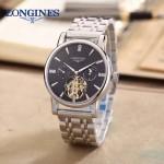 LONGINES-0101-5 商務男士閃亮銀多功能飛輪設計原裝全自動機械腕錶
