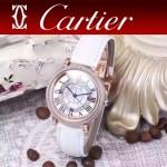 CARTIER-311-5 時尚百搭土豪金配白色礦物質強化鏡面進口石英腕錶