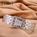 Piaget-026-13 時尚女士鑽石系列閃亮銀配白色珍珠貝母面進口石英腕錶