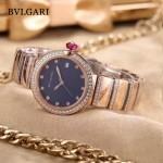 Bvlgari-98-8 最新女士LVCEA系列玫瑰金配藍底藍寶石鏡面瑞士石英腕錶