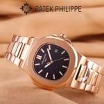 PATEK PHILIPPE-0149-2 時尚男士鸚鵡系列土豪金配黑底礦物質玻璃進口石英腕錶