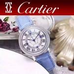 CARTIER-311-8 時尚百搭閃亮銀配藍色礦物質強化鏡面進口石英腕錶