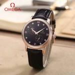 OMEGA-179-4 潮流男士多功能玫瑰金配黑底皮帶款原裝全自動機械腕錶