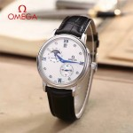OMEGA-179-5 潮流男士多功能閃亮銀配白底皮帶款原裝全自動機械腕錶