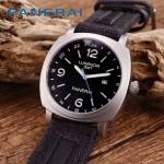PN1205-7 戶外運動必備男士閃亮銀五金加厚帆布縫真皮進口石英腕錶