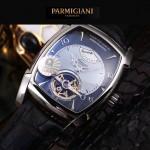 PARMIGIANI-05-3 爆款男士閃亮銀配黑底天工甲版設計8N25自動機械腕錶