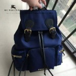 Burberry-0247-01 潮流時尚新款原單材質牛皮配防水紡布可以繡字中號雙肩包
