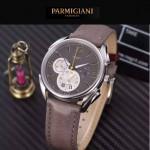 PARMIGIANI-08 新款Tonda Metrographe閃亮銀配褐色多功能計時進口石英腕錶