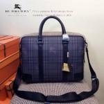 BURBERRY-0238 專櫃時尚新款原版牛皮配PVC男士手拎斜挎電腦包