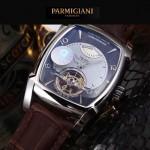 PARMIGIANI-05 爆款男士閃亮銀配黑底天工甲版設計8N25自動機械腕錶