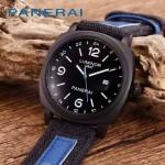 PN1205-2 戶外運動必備男士槍色五金加厚帆布縫真皮進口石英腕錶