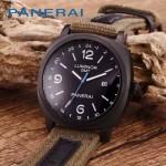 PN1205 戶外運動必備男士槍色五金加厚帆布縫真皮進口石英腕錶
