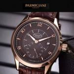 PARMIGIANI-04-10 全新男士土豪金配褐底316精鋼錶殼進口石英腕錶
