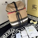 Burberry-0236 專櫃時尚新款Canvas系列原版格紋雙肩包