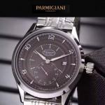 PARMIGIANI-04-14 全新男士閃亮銀配褐底316精鋼錶殼進口石英腕錶