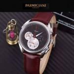 PARMIGIANI-08-7 新款Tonda Metrographe閃亮銀配紅色多功能計時進口石英腕錶