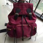 Burberry-0247 潮流時尚新款原單材質牛皮配防水紡布可以繡字中號雙肩包