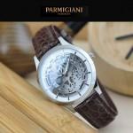 PARMIGIANI-07-3 時尚精品男士閃亮銀兩針設計全自動鏤空機械腕錶