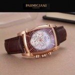 PARMIGIANI-01-6 商務男士兩針半系列土豪金配褐底進口石英腕錶