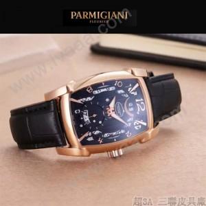 PARMIGIANI-01-11 商務男士兩針半系列土豪金配黑底進口石英腕錶