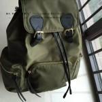 Burberry-0246-02 潮流時尚新款原單材質牛皮配防水紡布可以繡字大號雙肩包