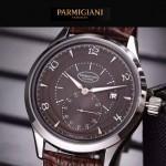 PARMIGIANI-04 全新男士閃亮銀配褐底316精鋼錶殼進口石英腕錶