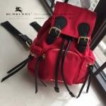 Burberry-0250-02 潮流時尚明星同步歐洲原版新款原單材質牛皮配防水紡布小號雙肩包