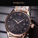 PARMIGIANI-04-12 全新男士間金系列配黑底316精鋼錶殼進口石英腕錶